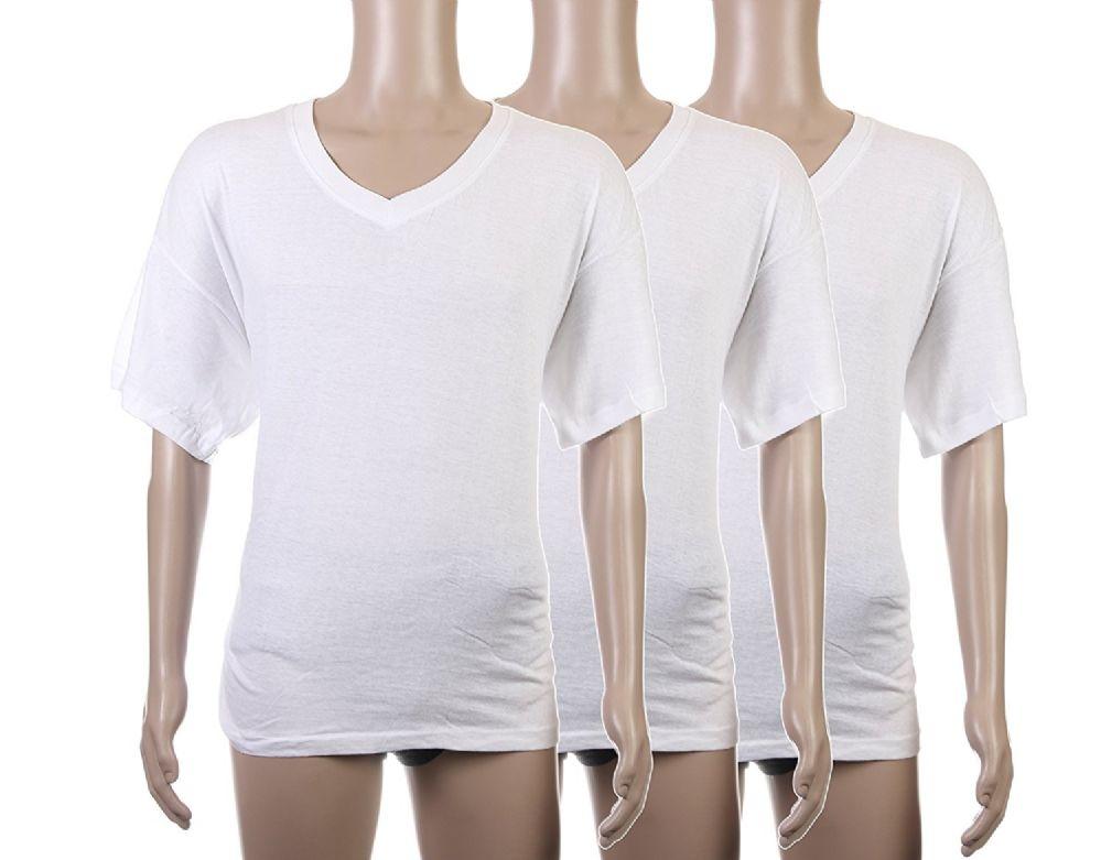 37ae159c7282 Excell Mens Plain White V Neck T-Shirts Tagless Soft Cotton (Medium, White)
