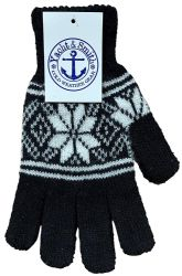 Yacht & Smith Snowflake Print Womens Winter Gloves With Stretch Cuff 120 pack