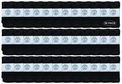 Yacht & Smith Kids Black Solid Tube Socks Size 4-6 36 pack
