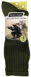 Yacht & Smith Military Grade Wick Dry Crew Socks ,heavy Duty Boot Sock, Army Green 6 pack