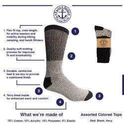 Yacht & Smith Mens Thermal Socks, Warm Cotton, Sock Size 10-13