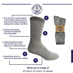 Yacht & Smith Mens Terry Lined Merino Wool Thermal Boot Socks Bulk Buy