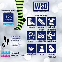 Womens Knee High Socks Assorted Colors, Cotton Boot Socks , Aloha High Weed Print Knee High 12 pack