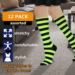 Womens Knee High Socks Assorted Colors, Cotton Boot Socks Assorted Colorful Stripes 12 pack