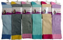 Woman Solid Color Knee High Socks Size 9-11 6 pack