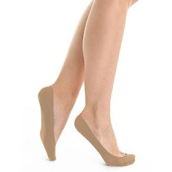 6 Pair Women's Mesh No Show / Silicone No Slip Loafer Sock Liner (nude)