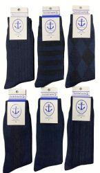 Yacht & Smith Men's Navy Textured Dress Socks Size 10-13 Bulk Pack 240 pack