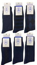 Yacht & Smith Men's Navy Textured Dress Socks Size 10-13 60 pack