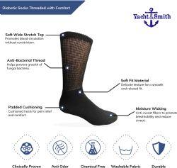 Yacht & Smith Women's Cotton Diabetic NoN-Binding Crew Socks - Size 9-11 White 6 pack