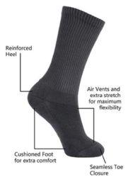 Yacht & Smith King Size Men's Cotton Terry Cushion Crew Socks, Sock Size 13-16 White