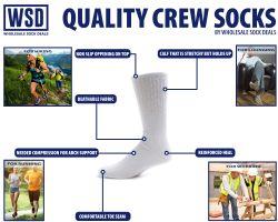 Yacht & Smith Kids Cotton Crew Socks White Size 4-6 60 pack