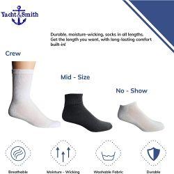 Socks'nbulk Wholesale Bulk Sport Cotton Crew Socks Men Sock Size 10-13 White Crew Gray Heel Toe 60 pack