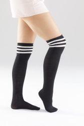 Yacht & Smith Womens Over The Knee Socks Referee Style Thigh High Socks Style 3 Pairs Black Striped