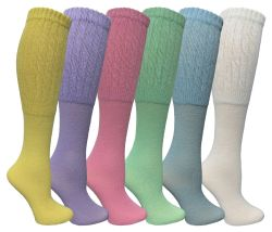 6 Pack Yacht & Smith Womens Cotton Slouch Socks, Womans Knee High Boot Socks (asst Pastel) 6 pack