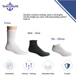 Yacht & Smith Men's USA White Crew Socks Cotton Terry Cushioned , Size 10-13