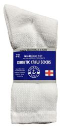 Yacht & Smith Women's Cotton Diabetic NoN-Binding Crew Socks - Size 9-11 White