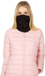 Yacht & Smith Warm Fleece Beanie Face Cover And Scarf With Adjustable Strap , Solid Black 60 pack