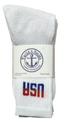 Yacht & Smith Men's Usa White Crew Socks Size 10-13