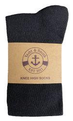 Yacht & Smith Girls Black Knee High Socks , 90% Cotton Size 6-8 12 pack
