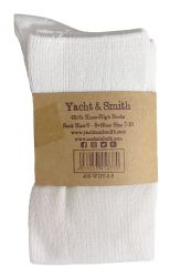 Yacht & Smith 90% Cotton White Knee High Socks For Girls 6 pack