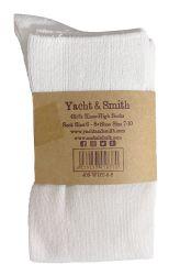 Yacht & Smith 90% Cotton White Knee High Socks For Girls 12 pack
