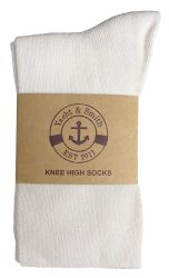 Yacht & Smith Womens Knee High Socks, Solid White 90% Cotton Size 9-11  12 pack