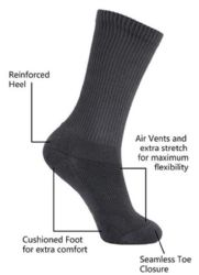 Yacht & Smith Men's King Size Cotton Terry Cushioned Crew Socks Gray Size 13-16 Bulk Pack