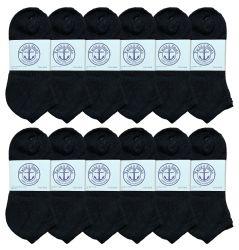 Yacht & Smith Women's NO-Show Cotton Ankle Socks Size 9-11 Black Bulk Pack