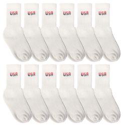 Yacht & Smith Kids Cotton Crew Socks White Usa Size 6-8