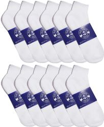 Yacht & Smith Mens Cotton White No Show Ankle Socks, Sock Size 10-13