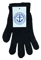 Yacht & Smith Mens Warm Winter Hats And Glove Set Solid Black 480 pack