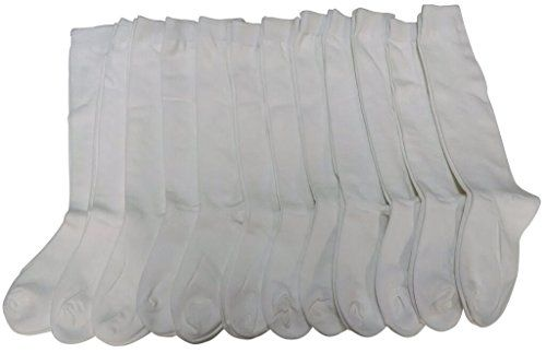 911187435d41a 12 Pairs of Girls Knee High Socks, Cotton, Flat Knit, School Socks (8 -  9.5,Ivory) - at - socksinbulk.com - Socksinbulk.com
