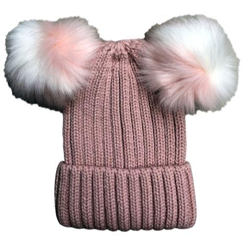 91a9652b5acfe Womens Warm Double Pom Pom Winter Beanie Hat Multi Color Pom Pom (1 Piece  Pink)