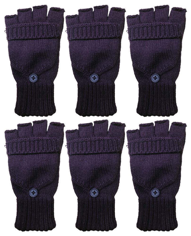 0573c0c8 Yacht & Smith Mens Womens, Warm And Stretchy Winter Gloves (6 pack  Fingerless Purple)