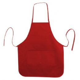 Long Round Bottom Cotton Twill Apron Red