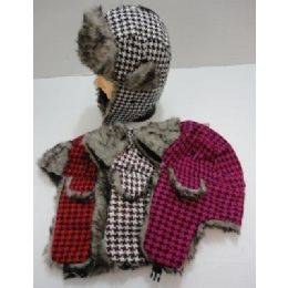Bomber Hat with Fur Lining--Houndstooth 144 pack
