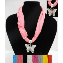 """30"""" Scarf Necklace with Butterfly 48 pack"""