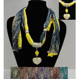 "62"" Leopard Print Scarf Necklace w/ Rhinestone Heart 36 pack"