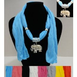 """64"""" Scarf Necklace with Elephant 36 pack"""