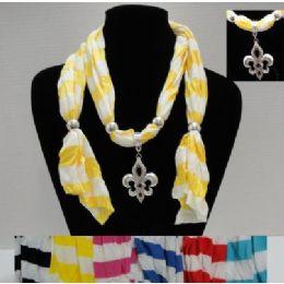 """64"""" Striped Scarf Necklace-Fleur de Lis 36 pack"""