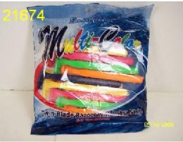 10 Piece 2 Blade Multi Colored Razors Bulk Buy 144 pack
