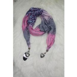 Ladies Fashion Scarf With Ornament 72 pack