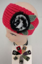 Hand Knitted Ear Band--Fur Flower 12 pack