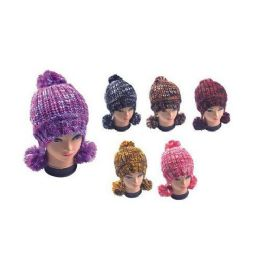 Multicolor Hat With Pom Poms 36 pack