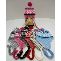 Knit Cap with Ear Flap and PomPom-Snowflakes 72 pack