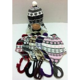 Knit Hat with Ear Flap--Heart & Peace Sign 72 pack