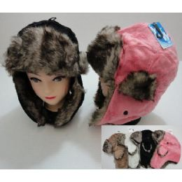 Plush Bomber Hat with Fur Lining 72 pack