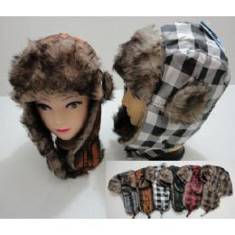 Bomber Hat with Fur Lining--New Plaid 24 pack
