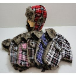 Bomber Hat with Fur Lining--Plaid 48 pack