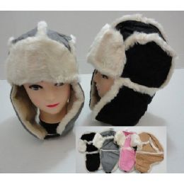 Bomber Hat with Fur Lining-Two-tone Suede-Like 48 pack